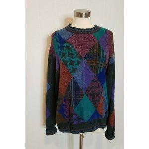 Mens 90s Vintage Sweater Multicolor Print